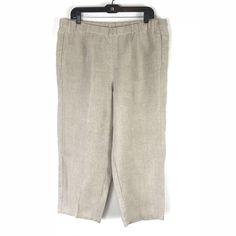 cb41a65a79b01 J Jill Love Linen Women s Large Capri Pants Cropped Solid Beige Pockets  Relaxed  JJill