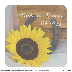 Sunflower and Horseshoe Western Wedding Square Paper Coaster