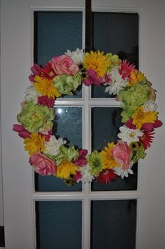 Cheerful Spring Time Floral Wreath 18 by ItsAKimThing on Etsy, $65.00
