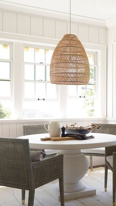 The clean simplicity of Scandinavian design meets the airy look of an open-weave pendant. Beautifully woven from rattan it adds the perfect dose of artistry and texture to the room. Decor Style Home Decor Style Decor Tips Maintenance Boho Chic, Style Deco, Farmhouse Kitchen Decor, Farmhouse Lighting, Design Blogs, Dining Room Design, Decorating Your Home, Decorating Ideas, Decor Ideas