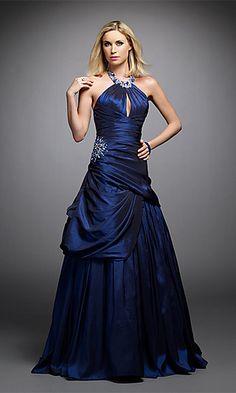 Floor Length Beaded Neckline Dress at SimplyDresses.com