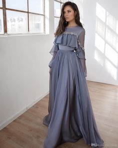 Prom dresses long with sleeves - Lace Beaded Cheap 2019 African Evening Dresses Long Sleeves Chiffon Prom Dresses Aline Formal Party Bridesmaid Pageant Gowns – Prom dresses long with sleeves