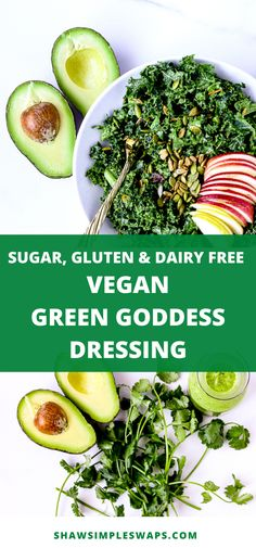 This Vegan Green Goddess Dressing is the perfect dressing to serve on top of salads sandwiches and veggies! It's a great way to enjoy a no added sugar healthy dressing made from the comfort of your own home! Fun Easy Recipes, Clean Eating Recipes, Healthy Dinner Recipes, Vegetarian Meals, Dressing Recipe, Salad Dressing, Vegan Plate, Fresh Salad Recipes, Green Goddess Dressing