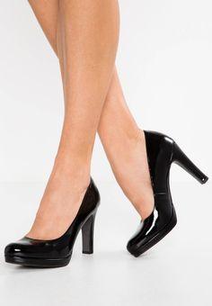 "Tamaris. High heels - black. Pattern:plain. Sole:synthetics. Platform height:0.5 "" (Size 4). heel height:3.5 "" (Size 4). Shoe tip:round. Padding type:Cold padding. Heel type:funnel heel,platform toe. Lining:textile. shoe faste..."