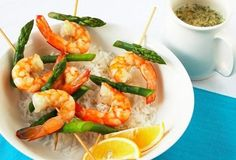 prawn and asparagus skewers with lemon and dill sauce
