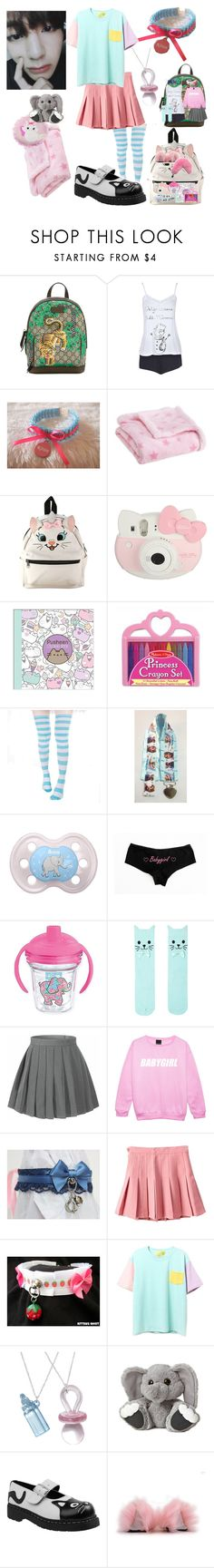 """""""little!anna sleepover!!"""" by dovelytaehyung ❤ liked on Polyvore featuring Gucci, Boohoo, Carter's, Disney, Hello Kitty, Pusheen, Melissa & Doug, Tervis, Hot Topic and T.U.K."""