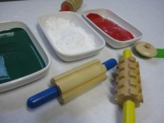 """Playdough tools, especially the texture rolling pins, are great for making repeat designs. If you don't have something similar, you can wrap string around a regular rolling pin (or cardboard-tube or tin-can) to create a pattern roller ("""",) Play Doh Tools, Homemade Art, Action Painting, Heart For Kids, Mark Making, Wrapping, Arts And Crafts, Wraps, Rolling Pins"""