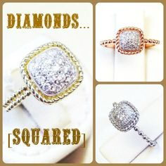 Square pave rings with rope frame and beaded shank.  Available in 14K yellow, white or rose gold and with single or double thickness. Goldex Fine Jewelry: (323) 726-7181