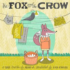 The Fox and the Crow book cover illustration by www.lisaorgler.com