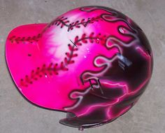 AIRBRUSH SOFTBALL HELMET PINK FLAME NEW PERSONALIZED