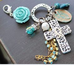 Blue Rose and Cross Charmed Pendant by VivaGailBeads on Etsy, $14.35