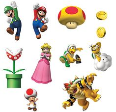 Super Mario Bros. Removable Wall Decorations for the boys room.