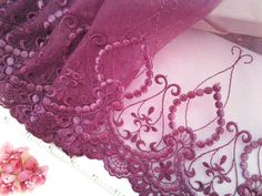 Violet lace Embroidered tulle net trim antique by raincrazy133, $8.50