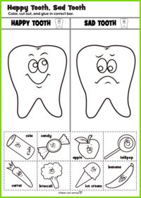 Happy Tooth/Sad Tooth Activity Health Adults Health For Kids Health Kindergarten Care Clean Teeth Care Display Care Routine Dental Health Month, Oral Health, Kids Health, Preschool Learning, Preschool Activities, Space Activities, Teaching, Health Unit, Dental Kids