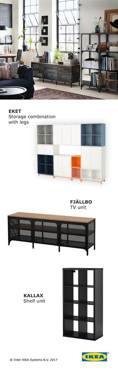 When choosing living room storage, consider the activities and hobbies that often create clutter in your home. IKEA living room storage is customizable, to let you organize everything and be ready for whatever fun comes your way.