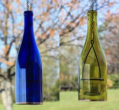 Single wine bottle hanging lantern. Romantic indoor or outdoor lighting. Option of 1 Green, Amber, Yellow, Cobalt Blue, or Clear glass 750ml wine bottle. The chain lengths can easily be changed with a simple pair of needle nose pliers by you at home. The glass votive holder is removable for easy cleaning or replacement. This listing includes: - 1 Cut 750ml bottle color of your choice(cobalt blue, green, yellow, clear, or amber) - Copper trim on bottom of bottle - Metal frame and Glass...