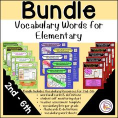 This Vocabulary Word Bundle provides vocabulary words for elementary students 2nd-6th. Each grade level includes an elementary vocabulary word list and supporting activities. Vocabulary words with meaning are provided on flashcards and words wall cards as student resources. Life Skills Classroom, Teaching Social Skills, Teaching Language Arts, Special Education Classroom, Teaching Resources, Teaching Writing, Vocabulary List, Vocabulary Words, Writing Practice