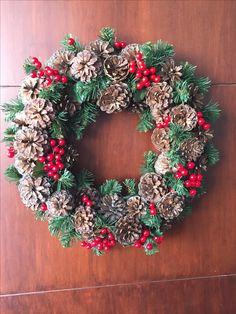 Christmas Wreath, door wreath, pine cones, Xmas decor