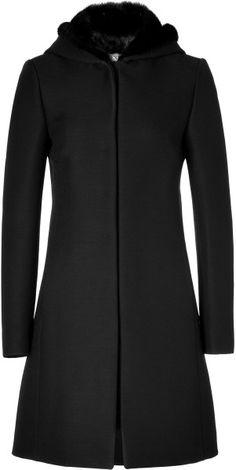 Valentino Woolsilk Coat with Mink Lined Hood in Black in Black