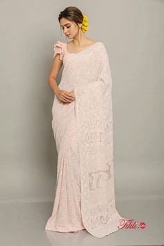 Here is How You Can Look Regal In A Classic Chikankari Saree Dress Indian Style, Indian Fashion Dresses, Indian Designer Outfits, Fashion Outfits, Sari Blouse Designs, Fancy Blouse Designs, Trendy Sarees, Stylish Sarees, Designer Sarees