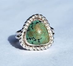 Spiderweb Turquoise Ring - Native American Ring - Southwestern Ring - Sterling Silver Ring - Size 7.5 Ring