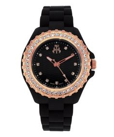 Love this Jivago Black & Rose Gold Cherie Watch by Jivago on #zulily! #zulilyfinds