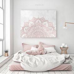 Our pink gray mandala created by Aga. Blush Pink And Grey Bedroom, Gray Bedroom Walls, Blush Bedroom, Pink Bedroom Decor, Boho Chic Bedroom, Pink Bedrooms, Pink Room, Artwork For Bedroom, Shabby Bedroom