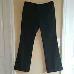 Ladies Bootcut Black Slacks/Trousers ? Ladies black business slacks, Lovely comfortable fabric, they are slightly less casual than the basic Gene distill trousers feature a classic fasten with a zip, button and two clips. They have a pocket each side on the front & 6 belt loops. Great trousers for work True size. So much better looking than the traditional straight leg. They have back single welt pocket style and front slit pockets. Mossimo Supply Co Pants Boot Cut & Flare