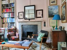 Ben Pentreath's sitting room painted in Farrow & Ball's Pink Ground. :: cozy :: colorful :: sitting room :: home ::  office :: organized :: eclectic :: creative :: chair :: coffee table ::