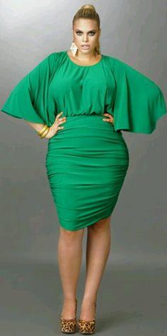 Monif C. Green Batwing Dress Plus Size Style Inspiration Apparel Clothing Design #UNIQUE_WOMENS_FASHION