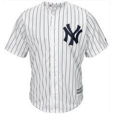Majestic Majestic Men's New York Yankees Blank Replica Jersey ($110) ❤ liked on Polyvore featuring men's fashion