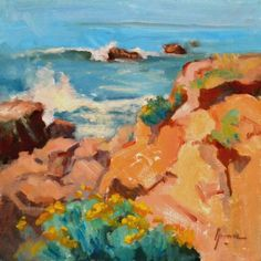 "CALIFORNIA SEASCAPE ""The day was warm and not windy, the circumstances I love and produce my best work. You could see me smiling a mile away!"" --- SFG Title: ""Pacific Energy"" Size: x -- SOLD California Art, Cambria California, Southern California, Landscape Paintings, Oil Paintings, How To Make Paint, Equine Art, World Of Color, Pacific Coast"