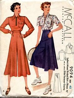 Unsung Sewing Patterns: 1930s  I like the Idea of the two different fabrics for the shirt and pants.