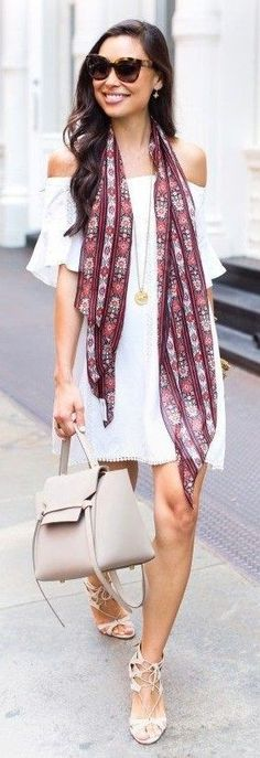 #feminine #style #summer #outfitideas   Scarf + White Off The Shoulder Dress