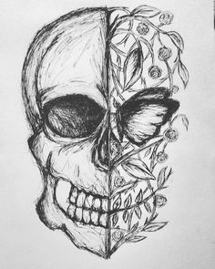 drawing skull sketch bored draw drawings butterfly sketches instagram easy dark flowers doodle