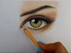 Tutorial: Cómo dibujar ojos con lápices de colores - YouTube