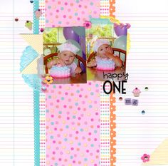 happy one || HappyGRL - Scrapbook.com - Adorable vertical design on this one year layout.