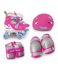Look what I found on #zulily! Pink Quad Combo Roller Skate & Helmet Set - Kids #zulilyfinds