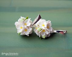 """Earrings """"White Lilac"""" - Polymer Clay Flowers"""