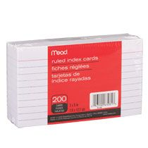 """Bulk Mead Ruled White Index Cards, 3x5"""" at DollarTree.com $1.00"""