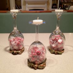 My christmas (wine glass) candle holders...