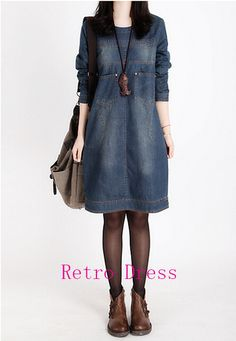 >> Click to Buy << Plus Size Women Clothing 2016 Spring New Casual Big Size Jeans Dress Woman Summer Vintage Long Sleeve Denim Dresses For Women #Affiliate