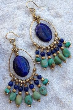 Midnight Sea Lapis and Turquoise Earrings Love this combination   www.boldbodaciousjewelry.com #gemstone jewelry