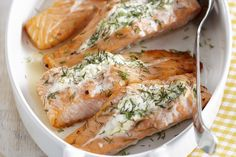 Need a super simple dinner idea? Our Roasted Salmon with Herbed Cream Cheese is a delicious weeknight dinner recipe. With only 3 ingredients - it doesn't get much easier than this! Salmon Recipes, Fish Recipes, Seafood Recipes, Cooking Recipes, What's Cooking, Seafood Dishes, Oven Roasted Salmon, Baked Salmon