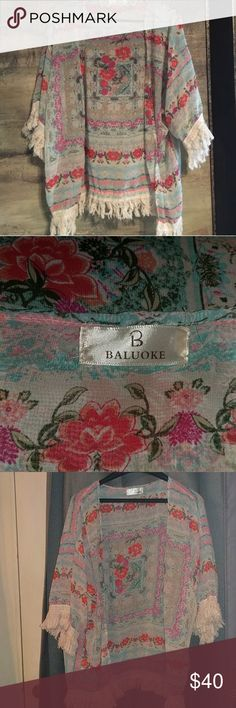 Floral cover up Floral cover up with fringe  Baluoke One size Worn a couple of times Good condition baluoke Jackets & Coats