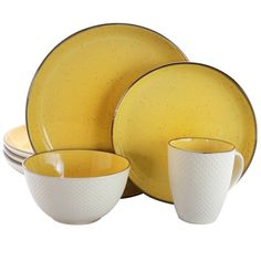Elama Elama Mellow-Yellow Dinnerware Set at Lowe's. Dress your table in a summery vibe all year round with he Mellow-Yellow Dinnerware Set by Elama. Inspired by juicy yellow watermelons, this warm Yellow Dinnerware, Stoneware Dinnerware Sets, Tableware, Kitchenware, Powder Blue Color, Yellow Interior, Mellow Yellow, Bright Yellow, Dish Sets