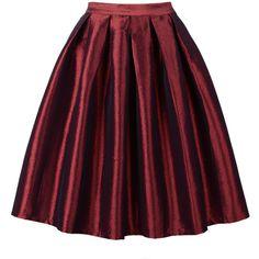 Choies Wine Red High Waist Skater Skirt ($20) ❤ liked on Polyvore featuring skirts, bottoms, red, high waisted skirts, purple skater skirt, flared skirt, red knee length skirt e purple skirt