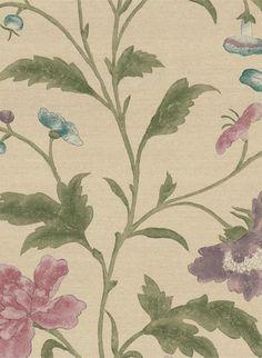 Blumen in Aquarelltechnik: Little Greene Tapete China Rose - Sage #britisch #englisch #design #floral #esszimmer