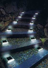 Solar Lit Stone Stairs Side Walkway Ideas Backyard Pathway Lights