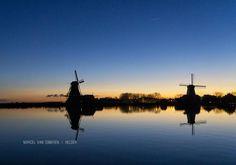 very clear sky, sunrise at Zaanse Schans